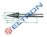 Lima forma cônica pontiaguda forma M 60mm 20720N Nicholson