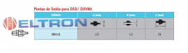 DX113 Ponta de Solda para DSX DXV80 Weller